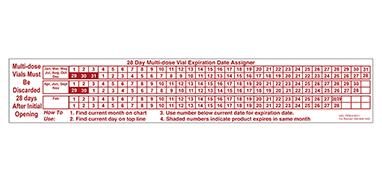Item 18511 - 28 Day Multi-dose Vial Expiration Date Assigner Label