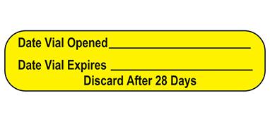 Item 18619 - Date Vial Opened Label