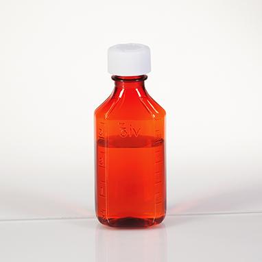 Item 19490 Amber Plastic Oval Medicine Bottles 4 Oz