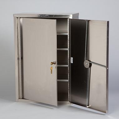 Item 8222 Stainless Steel Narcotic Cabinet 2 Locks 2 Doors