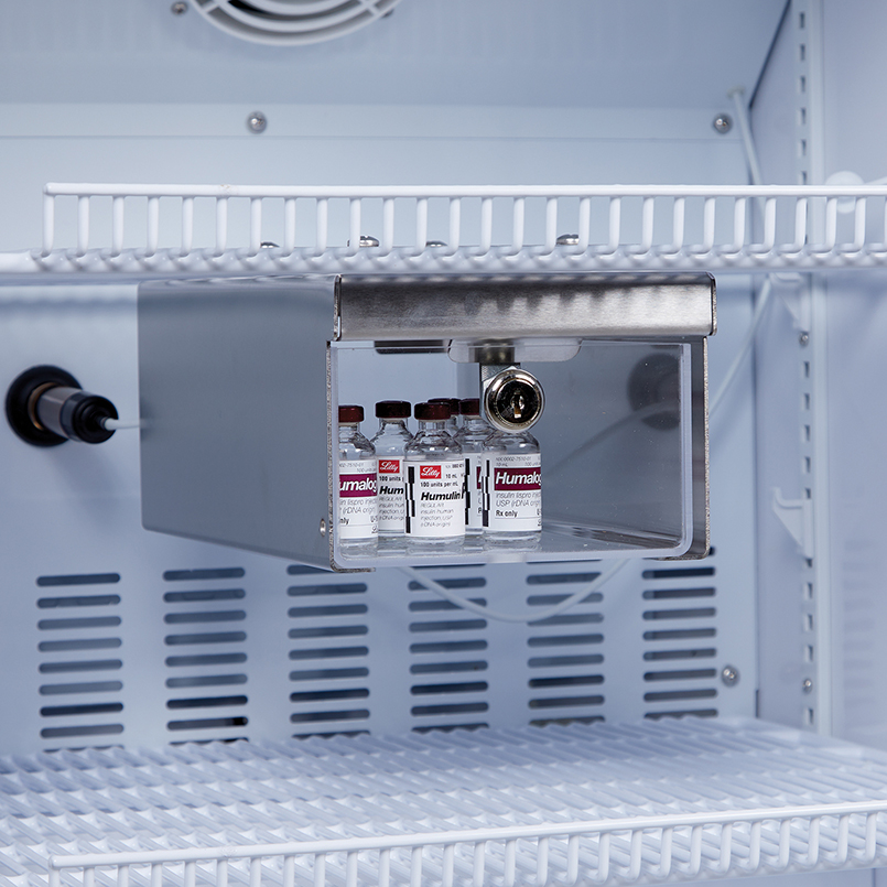 & Item 3735 - Small Locking Refrigerator Storage Box Stainless Steel