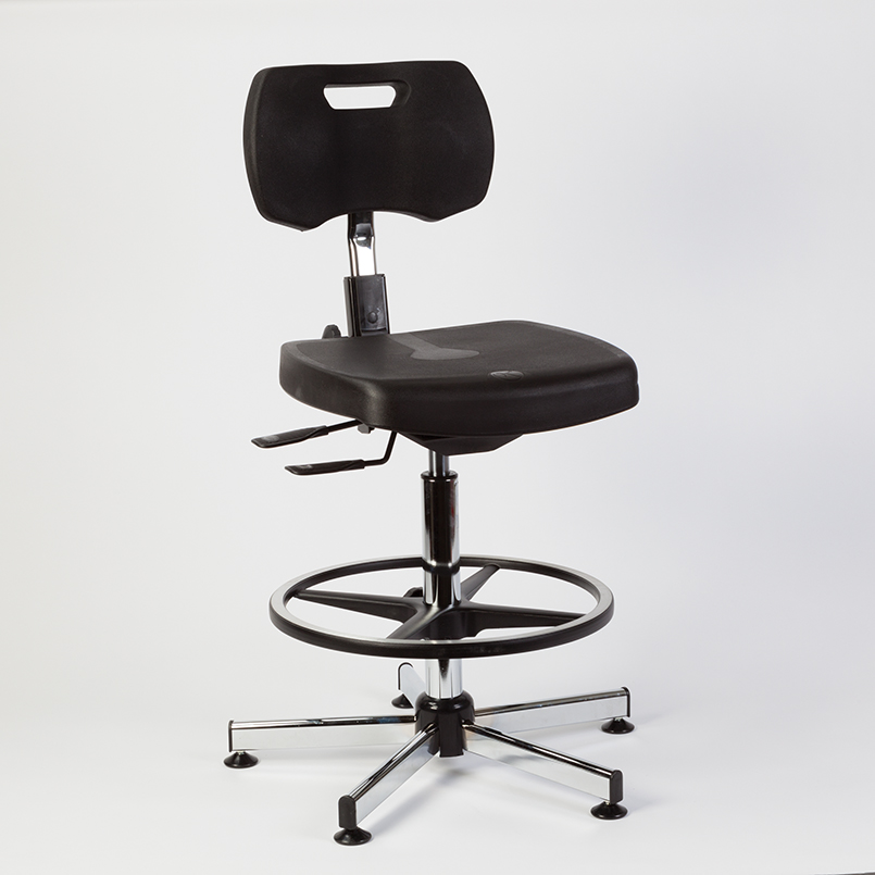 Item 8421K   Kango® High Polyurethane Seat Chair W / Tilt And Footrest,  Black